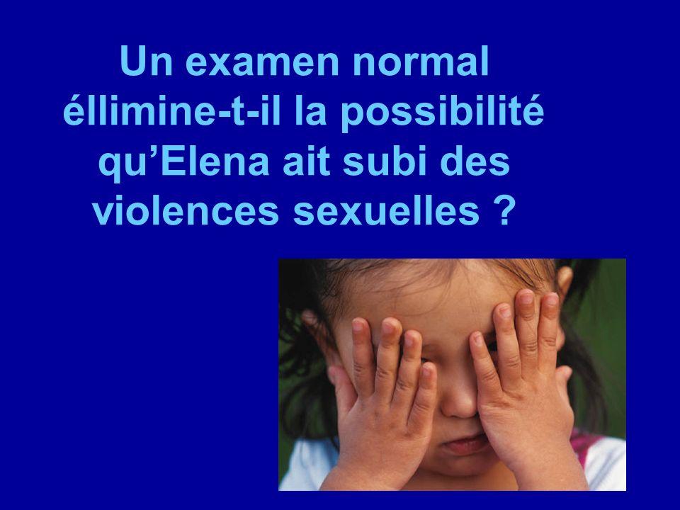 Un examen normal éllimine-t-il la possibilité qu'Elena ait subi des violences sexuelles
