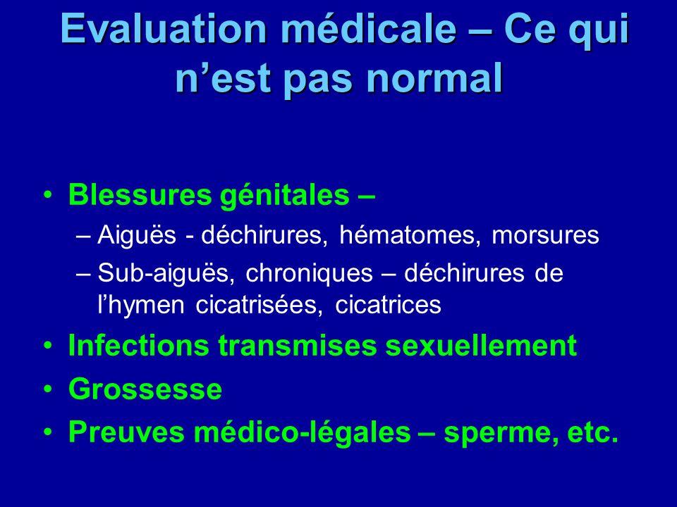 Evaluation médicale – Ce qui n'est pas normal