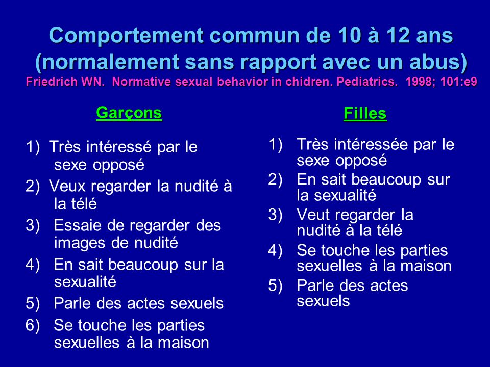 Comportement commun de 10 à 12 ans (normalement sans rapport avec un abus) Friedrich WN. Normative sexual behavior in chidren. Pediatrics. 1998; 101:e9