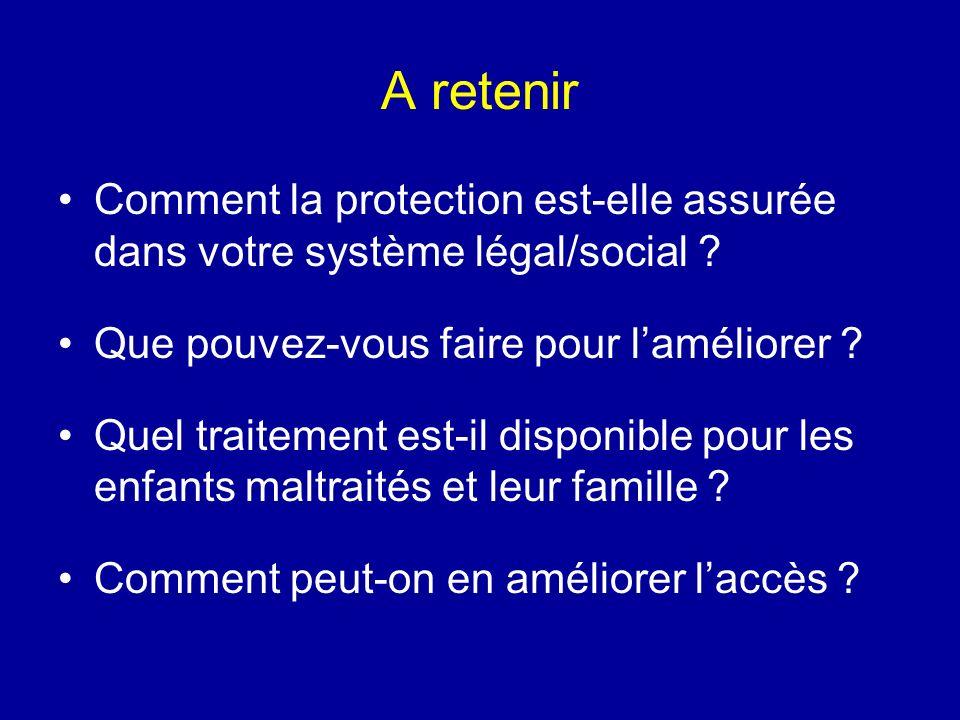 A retenir Comment la protection est-elle assurée dans votre système légal/social Que pouvez-vous faire pour l'améliorer