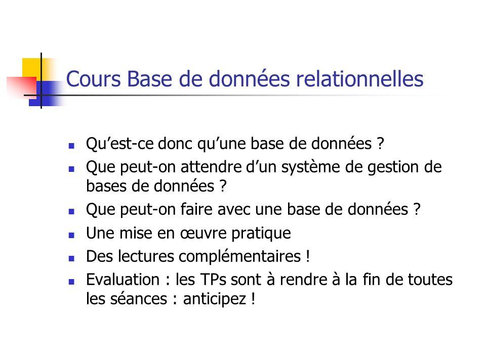 Cours Base de données relationnelles
