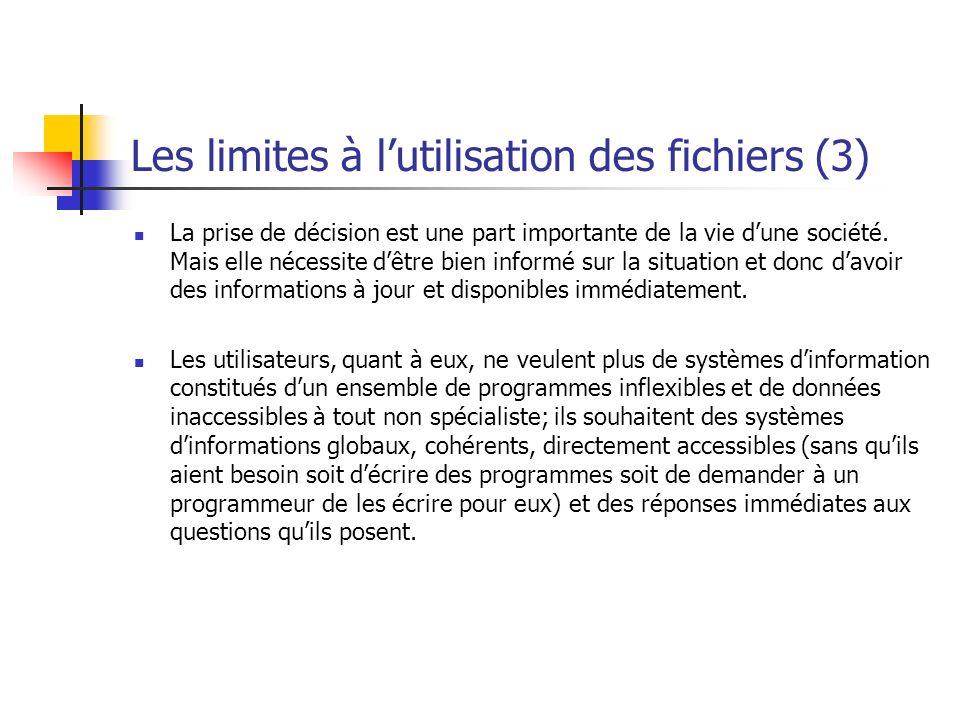 Les limites à l'utilisation des fichiers (3)