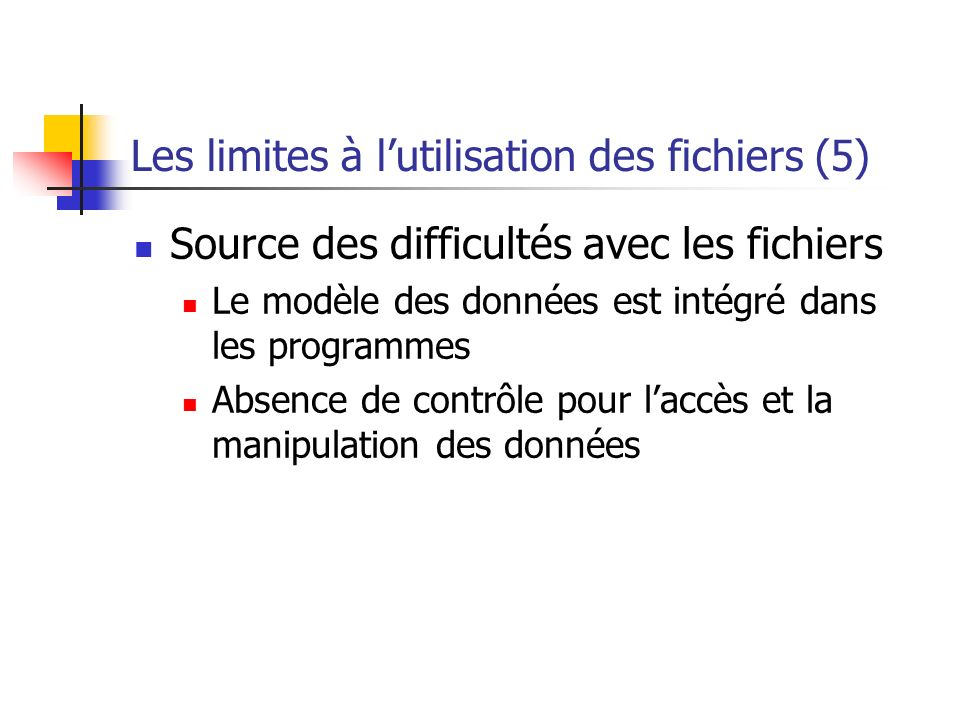 Les limites à l'utilisation des fichiers (5)