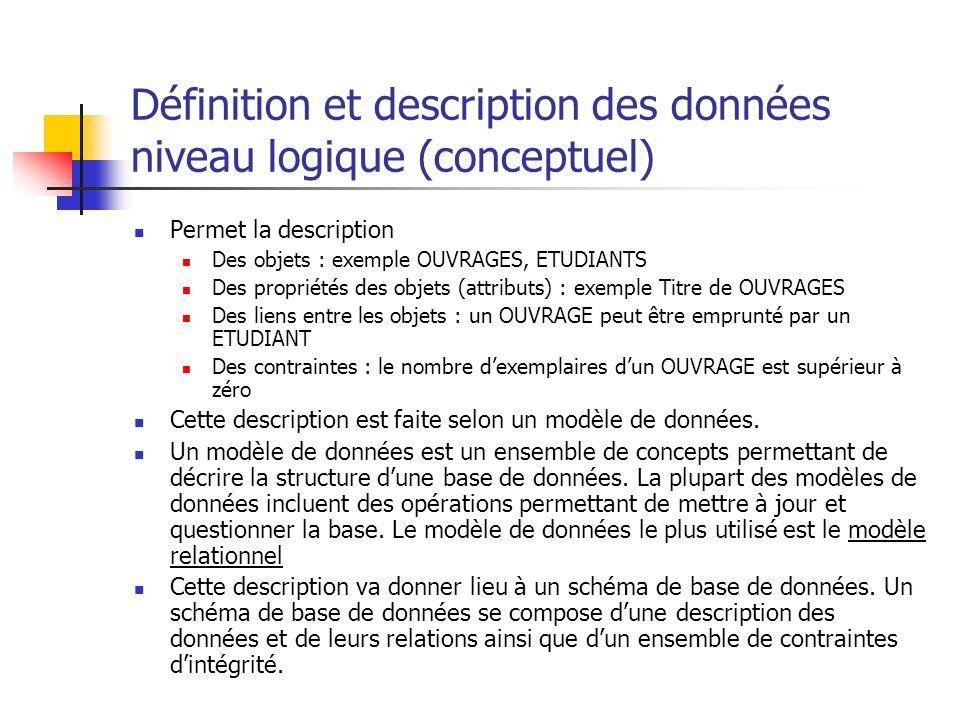 Définition et description des données niveau logique (conceptuel)