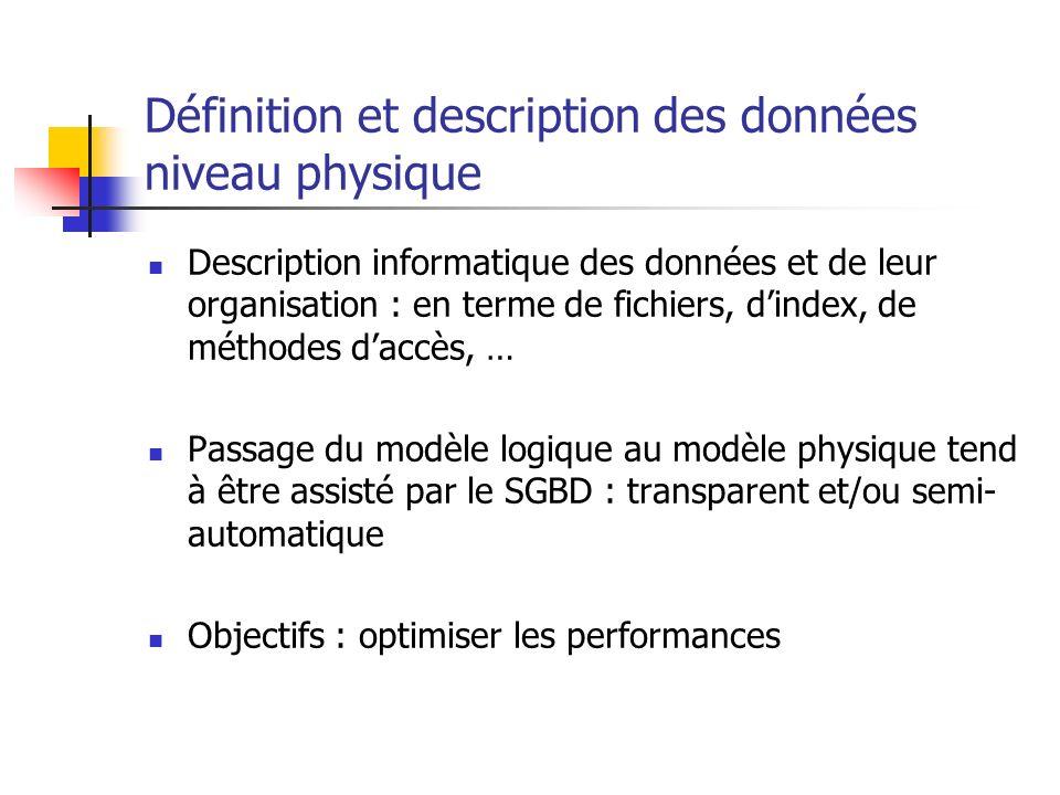 Définition et description des données niveau physique