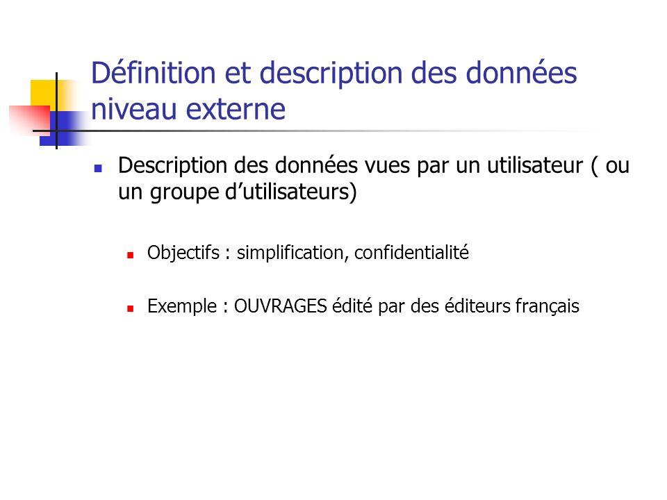 Définition et description des données niveau externe