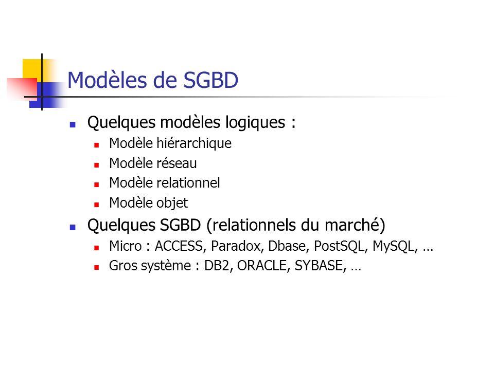 Modèles de SGBD Quelques modèles logiques :