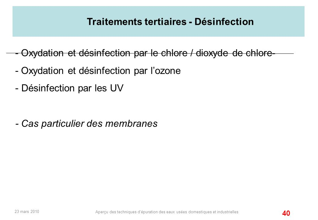 Traitements tertiaires - Désinfection