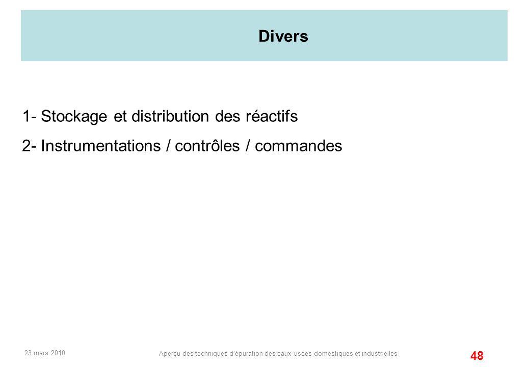 1- Stockage et distribution des réactifs