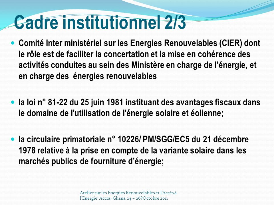 Cadre institutionnel 2/3
