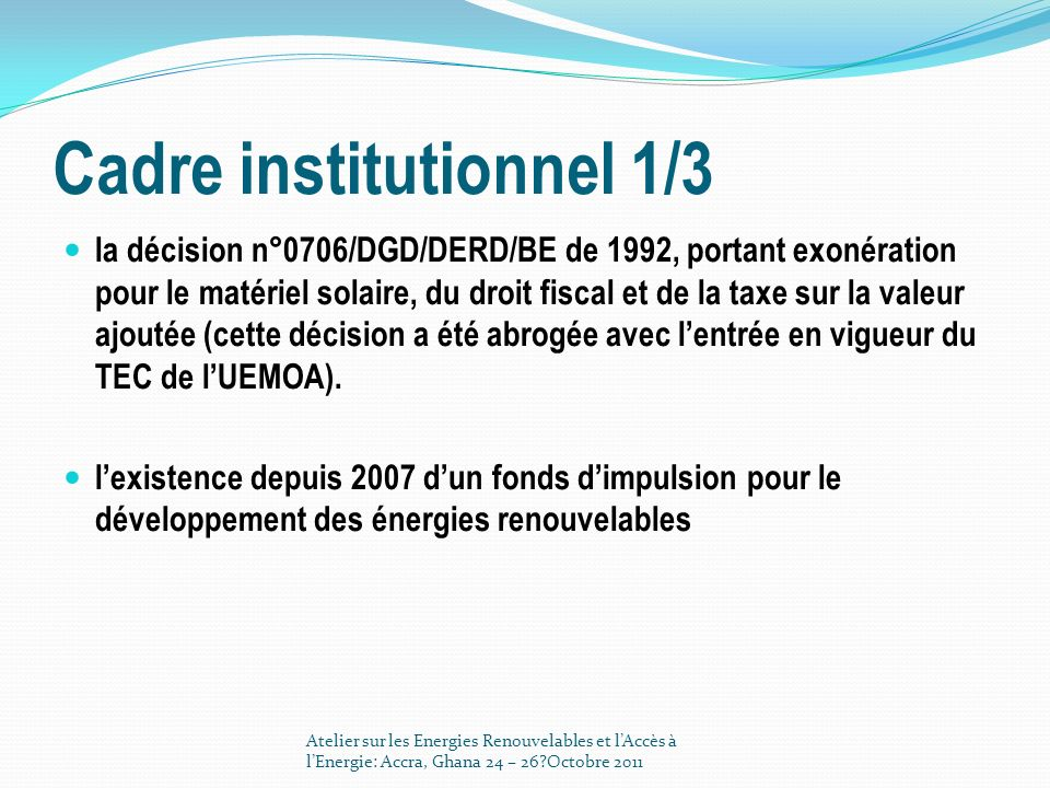 Cadre institutionnel 1/3