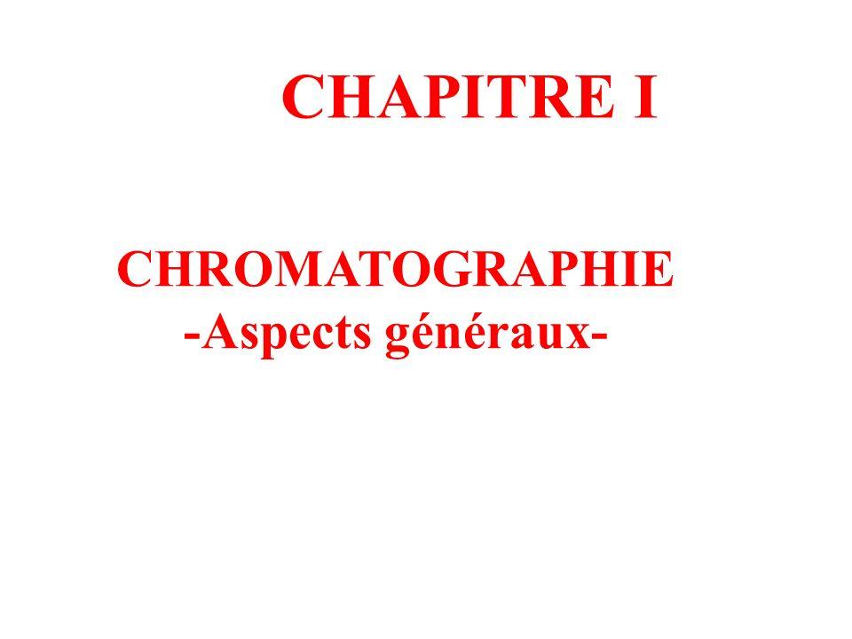 CHAPITRE I CHROMATOGRAPHIE -Aspects généraux-
