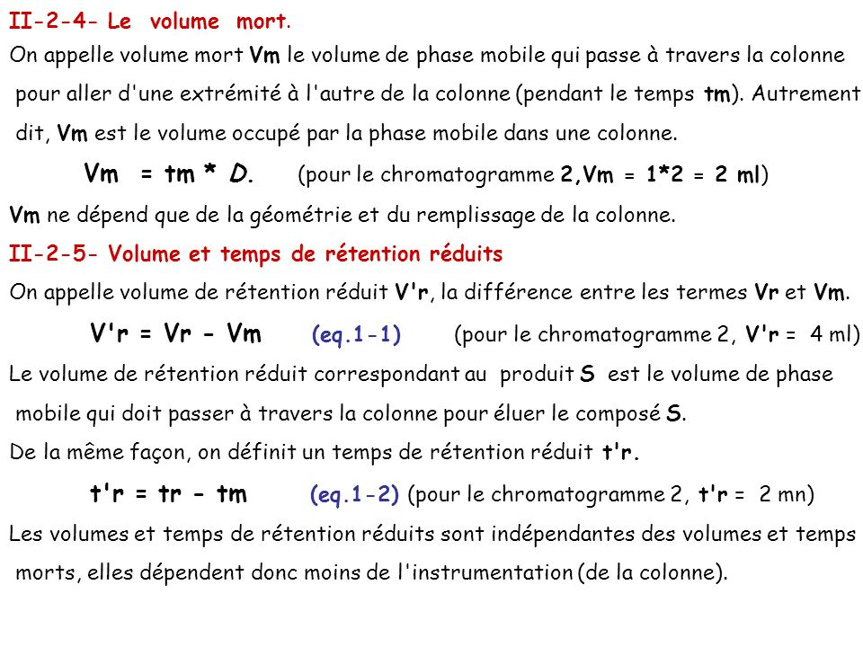 II-2-4- Le volume mort. On appelle volume mort Vm le volume de phase mobile qui passe à travers la colonne.