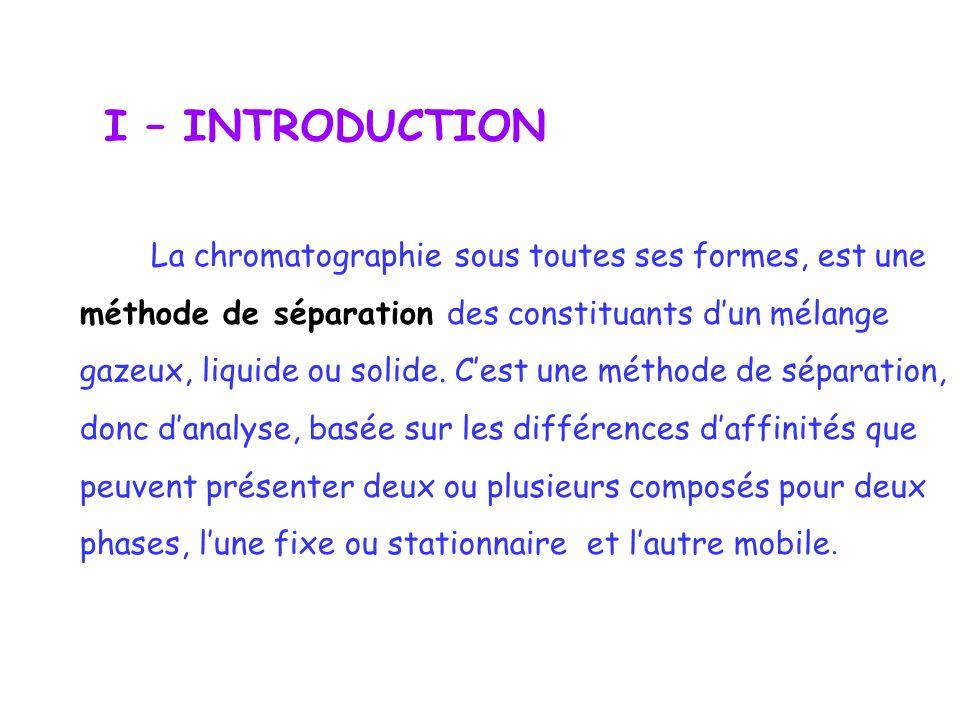 I – INTRODUCTION La chromatographie sous toutes ses formes, est une