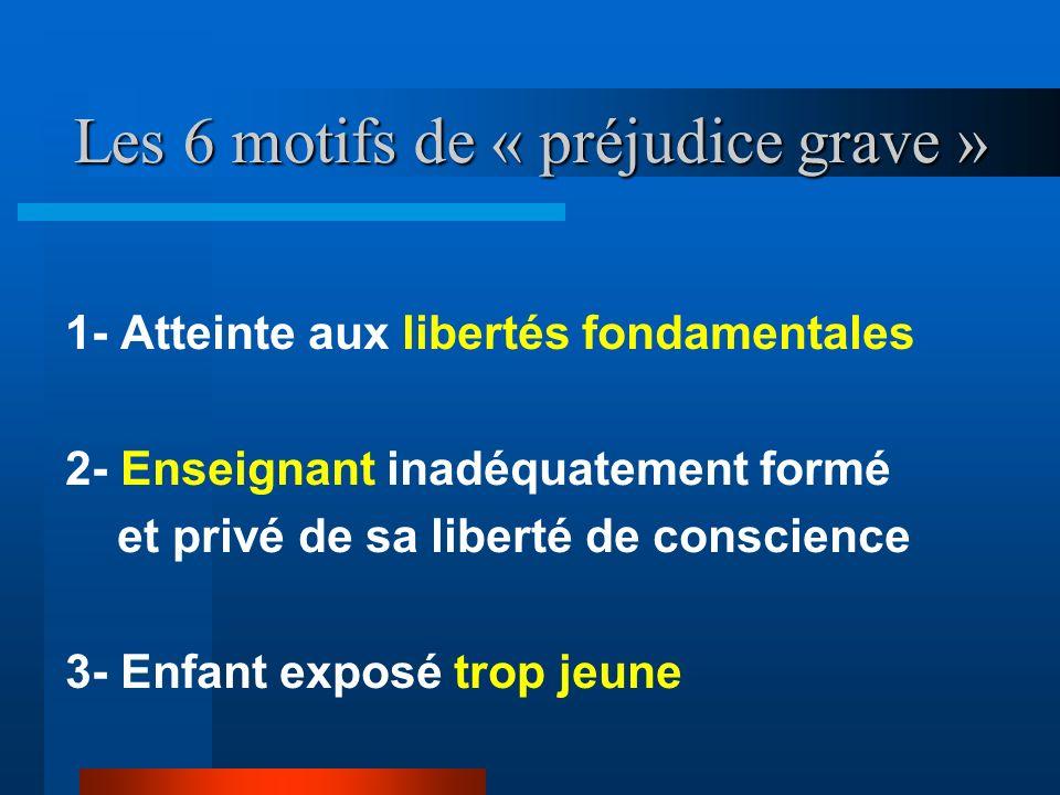 Les 6 motifs de « préjudice grave »