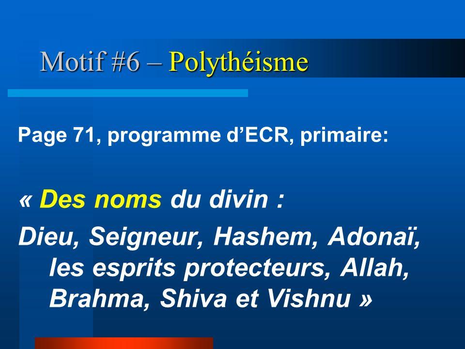 Motif #6 – Polythéisme « Des noms du divin :