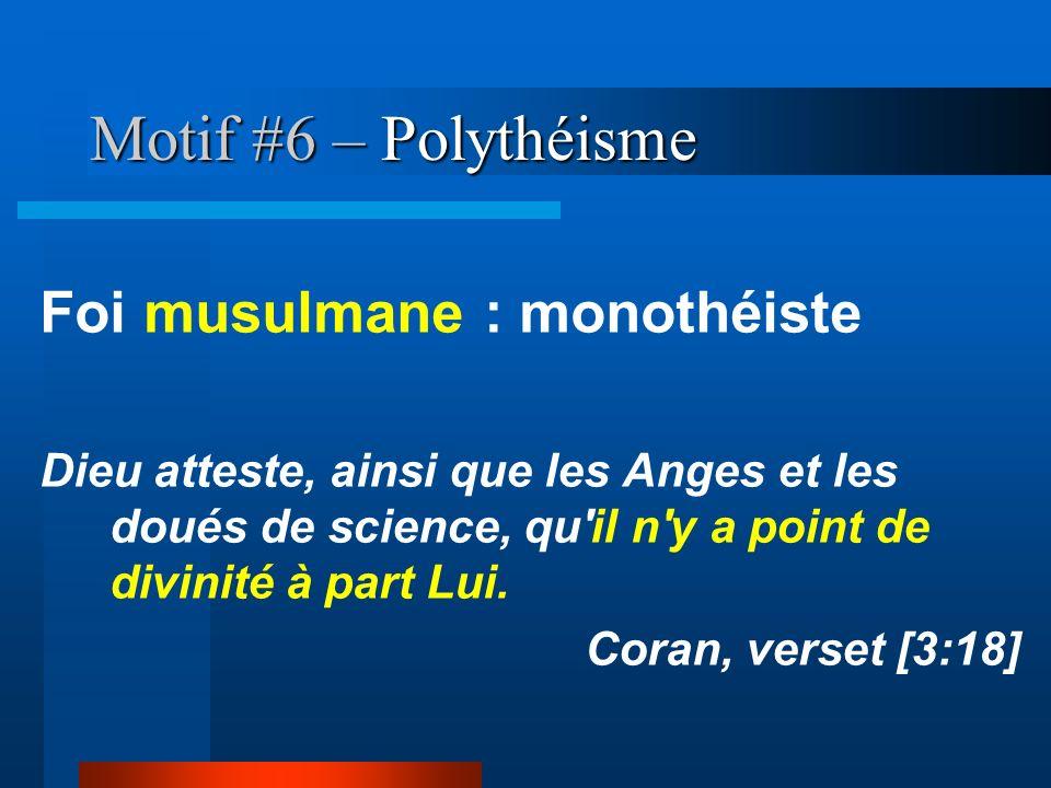 Motif #6 – Polythéisme Foi musulmane : monothéiste