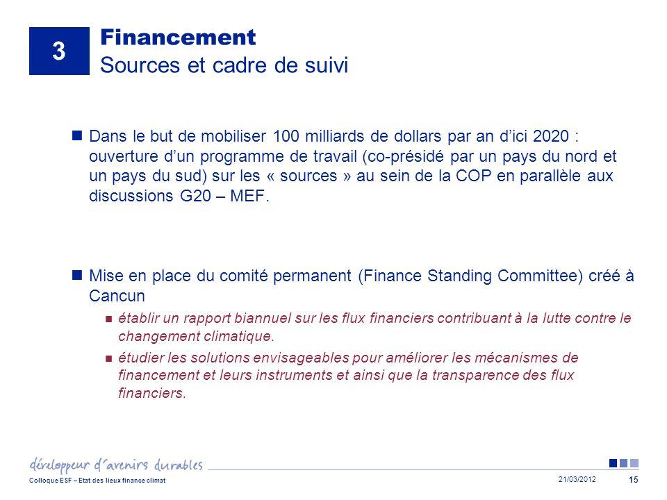Financement Sources et cadre de suivi