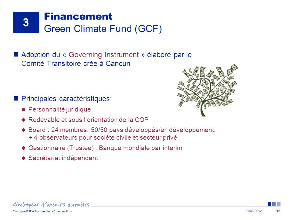 Financement Green Climate Fund (GCF)