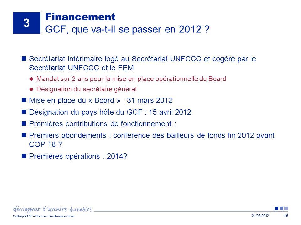 Financement GCF, que va-t-il se passer en 2012