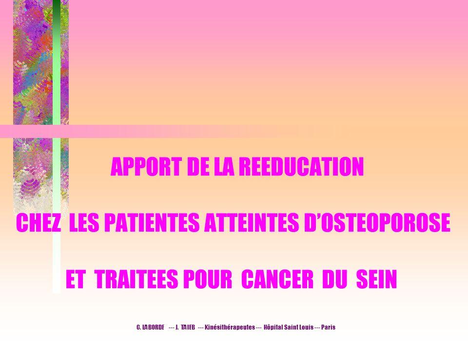 APPORT DE LA REEDUCATION CHEZ LES PATIENTES ATTEINTES D'OSTEOPOROSE ET TRAITEES POUR CANCER DU SEIN