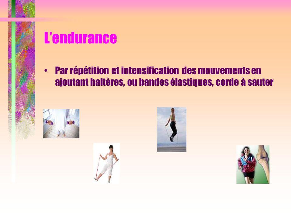 L'endurance Par répétition et intensification des mouvements en ajoutant haltères, ou bandes élastiques, corde à sauter.