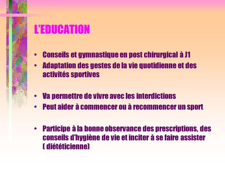 L'EDUCATION Conseils et gymnastique en post chirurgical à J1