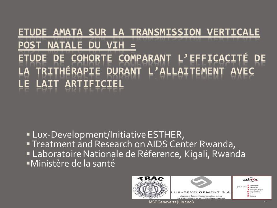 Etude AMATA sur la transmission verticale post natale du VIH = Etude de cohorte comparant l'efficacité de la trithérapie durant l'allaitement avec le lait artificiel