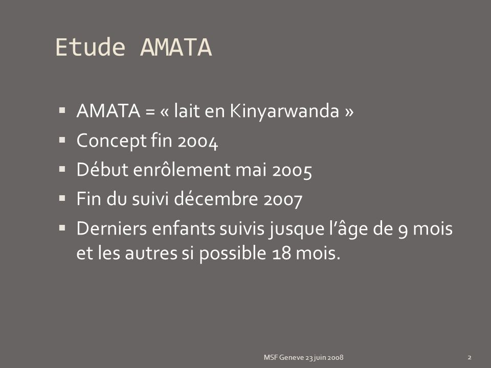 Etude AMATA AMATA = « lait en Kinyarwanda » Concept fin 2004