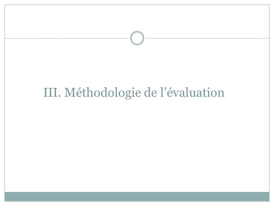III. Méthodologie de l'évaluation