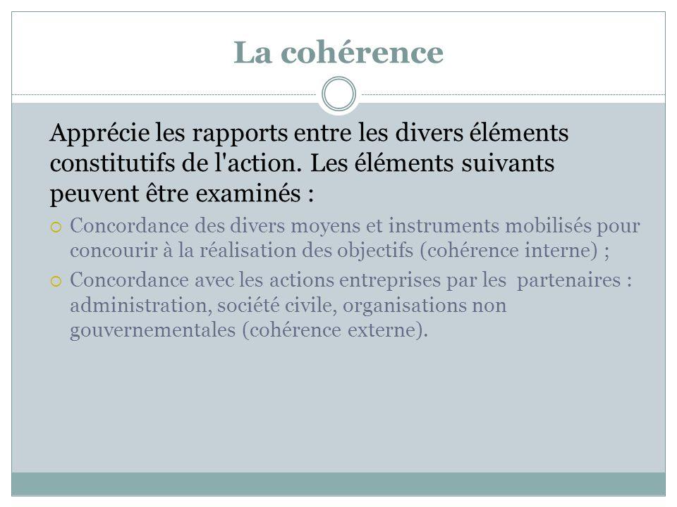 La cohérence Apprécie les rapports entre les divers éléments constitutifs de l action. Les éléments suivants peuvent être examinés :