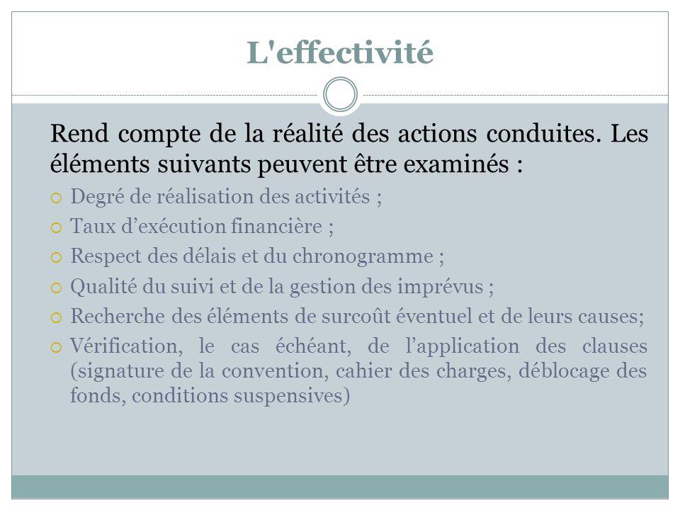 L effectivité Rend compte de la réalité des actions conduites. Les éléments suivants peuvent être examinés :