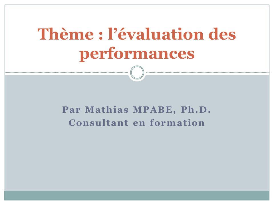 Thème : l'évaluation des performances