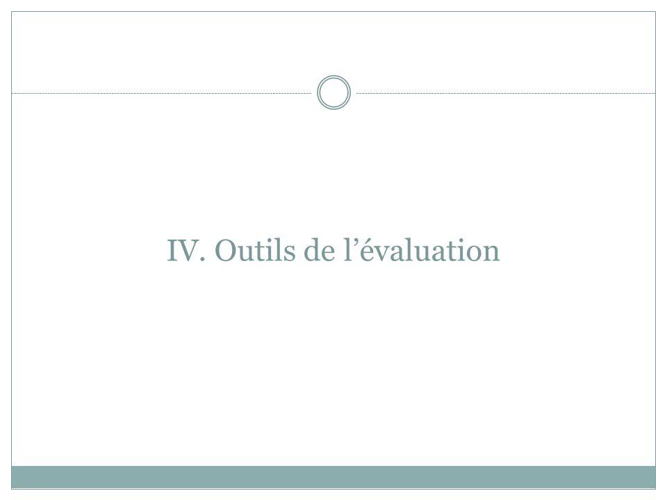 IV. Outils de l'évaluation