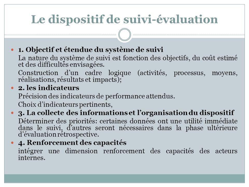 Le dispositif de suivi-évaluation