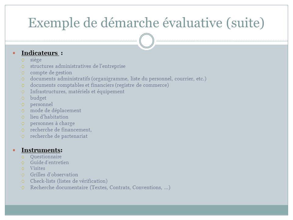 Exemple de démarche évaluative (suite)