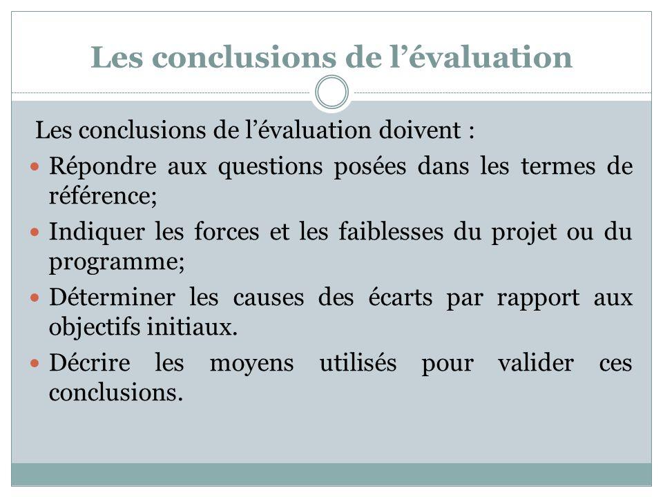 Les conclusions de l'évaluation