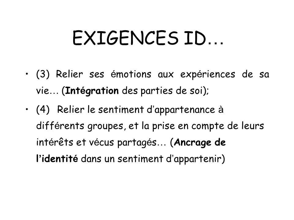 EXIGENCES ID… (3) Relier ses émotions aux expériences de sa vie… (Intégration des parties de soi);