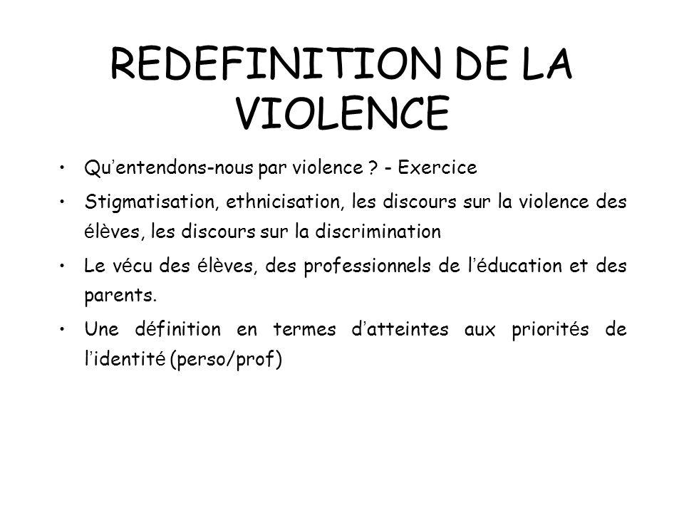 REDEFINITION DE LA VIOLENCE