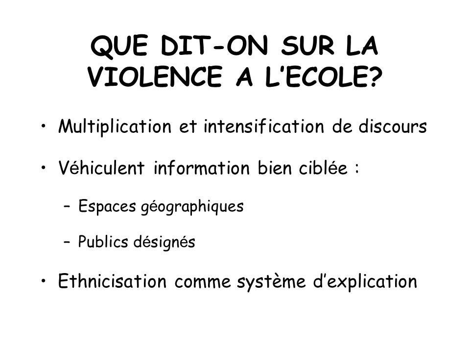 QUE DIT-ON SUR LA VIOLENCE A L'ECOLE