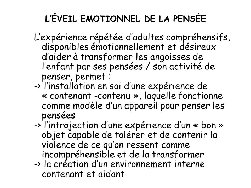 L'ÉVEIL EMOTIONNEL DE LA PENSÉE