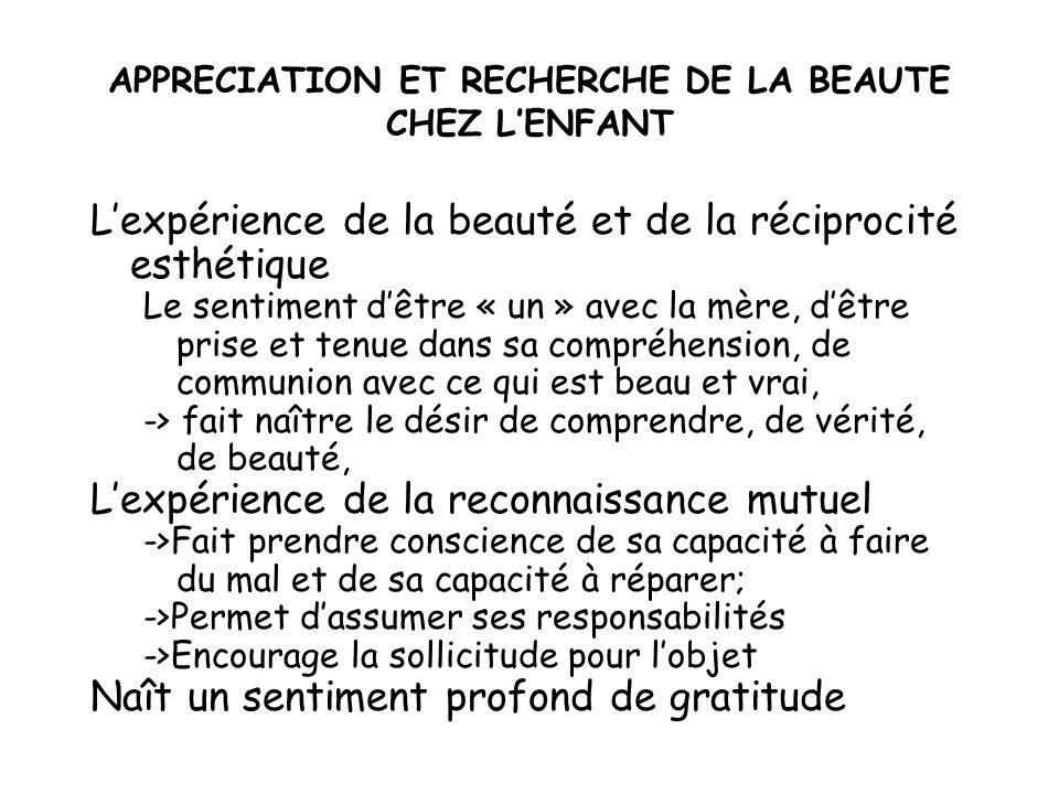 APPRECIATION ET RECHERCHE DE LA BEAUTE CHEZ L'ENFANT