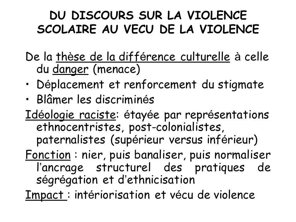 DU DISCOURS SUR LA VIOLENCE SCOLAIRE AU VECU DE LA VIOLENCE