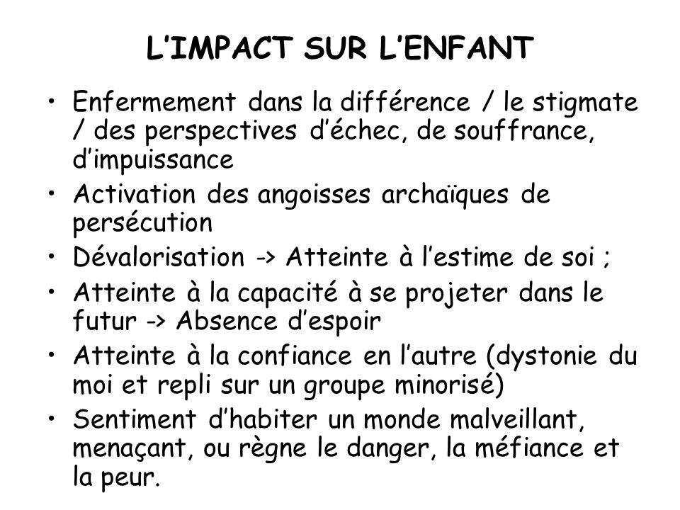 L'IMPACT SUR L'ENFANT Enfermement dans la différence / le stigmate / des perspectives d'échec, de souffrance, d'impuissance.