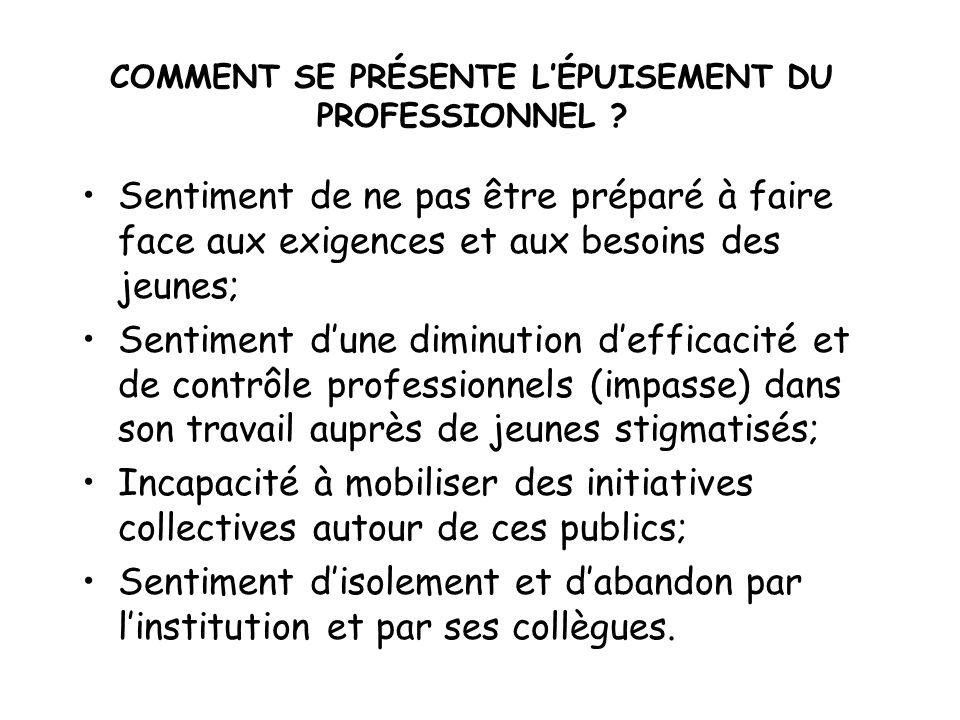 COMMENT SE PRÉSENTE L'ÉPUISEMENT DU PROFESSIONNEL