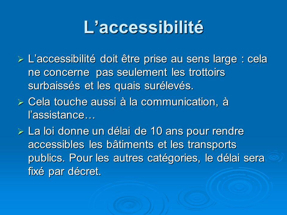 L'accessibilité L'accessibilité doit être prise au sens large : cela ne concerne pas seulement les trottoirs surbaissés et les quais surélevés.