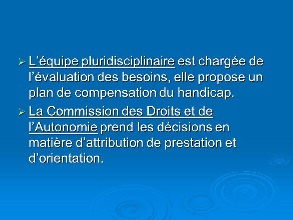L'équipe pluridisciplinaire est chargée de l'évaluation des besoins, elle propose un plan de compensation du handicap.