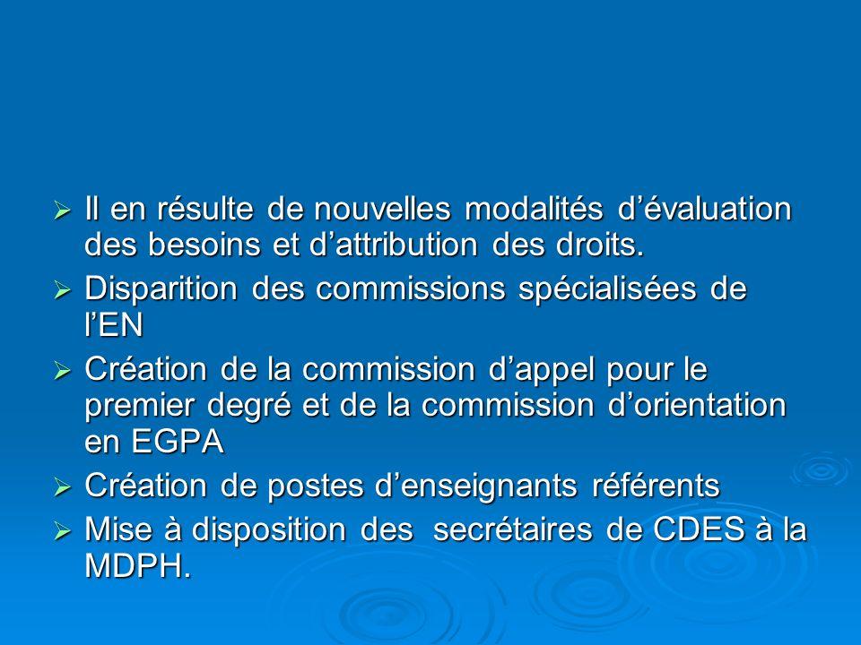 Il en résulte de nouvelles modalités d'évaluation des besoins et d'attribution des droits.