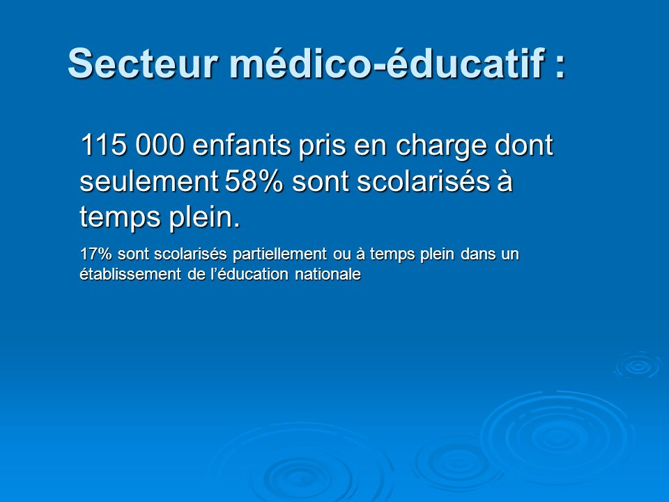 Secteur médico-éducatif :