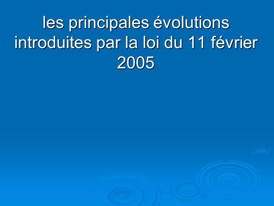 les principales évolutions introduites par la loi du 11 février 2005